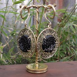 6 Gauge Brass Ear Weight Hangers with Carved Black Horn Carnation Medallions (one pair)