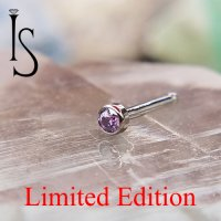 "Industrial Strength Titanum Nose Bone 2mm Bezel-set Amethyst CZ 5/16"" Length 18 Gauge 18g Limited Edition"