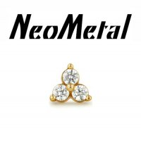 "18 gauge 18g NeoMetal Threadless Trinity Gem End 14kt 14 karat Gold ""Press-fit"""