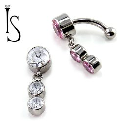 IS Titanium Fixed Top Bezel-set Faceted Gem Curved Barbell w/ (2) 4mm Dangles 14 gauge 14g