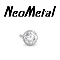 "18 Gauge 18g NeoMetal Threadless Titanium Bezel-Set Faceted Gem 2.0mm ""Press-fit"""