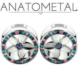 "Anatometal Stainless Steel Princess Cut Gem Bling Eyelet Tunnel Pure Silver Plumeria Flower Insert 00g, 7/16"", 1/2"", 9/16"", 5/8"", 3/4"",7/8"""