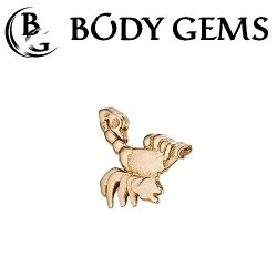 "Body Gems 14kt Gold ""Scorpion"" Threaded End Dermal Top 18 Gauge 16 Gauge 14 Gauge 12 Gauge 18g 16g 14g 12g"