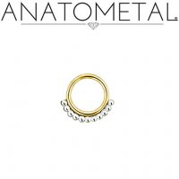 Anatometal Vaughn 18kt gold Seam Ring With Silver Bead Overlay 18 Gauge 18g