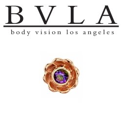 "BVLA 14kt Gold ""Water Lily"" Threaded End Dermal Top 18g 16g 14g 12g Body Vision Los Angeles"