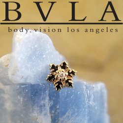 "BVLA 14kt Gold ""Snowflake"" Threaded End Dermal Top 18g 16g 14g 12g Body Vision Los Angeles"