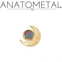 Anatometal 18Kt Hammered Gold Threaded Crescent Moon End 3mm Gem 18g 16g 14g 12g
