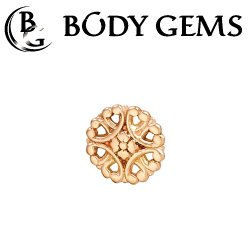 "Body Gems 14kt Gold ""Rosette"" Threaded End Dermal Top 18 Gauge 16 Gauge 14 Gauge 12 Gauge 18g 16g 14g 12g"