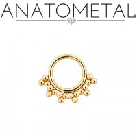 Anatometal 18kt Gold Seam Ring With Gold Sabrina Overlay 16 Gauge 16g