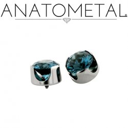 Anatometal Titanium Threaded 4mm Prong-Set Faceted Gem End 18 Gauge 16 Gauge 14 Gauge 12 Gauge 18g 16g 14g 12g