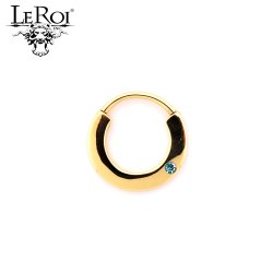 LeRoi 14kt Gold Geometric Circle Clicker Hinge Ring With Gem 14 Gauge 14g