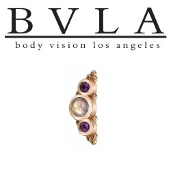 "BVLA 14kt Gold 3 Gem Graduating ""Panaraya"" Threaded Gem End Dermal Top18g 16g 14g 12g Body Vision Los Angeles"