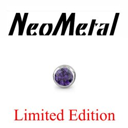 "18 Gauge 18g NeoMetal Limited Ed. Threadless Titanium Faceted Amethyst Bezel 1.5mm ""Press-fit"""