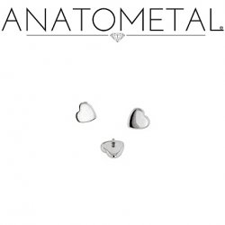 Anatometal Stainless Surgical Steel Internally Threaded Heart End 14g 12g