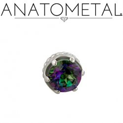 Anatometal 18kt Gold 3mm 4mm Mystic Topaz Queen Threaded Gem End 18g 16g 14g 12g