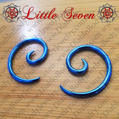 Little Seven Niobium Small Spirals 12 Gauge 12g (Pair) - Click Image to Close