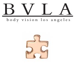 "BVLA 14kt Gold ""Puzzle Piece"" Threaded End Dermal Top18g 16g 14g 12g Body Vision Los Angeles"