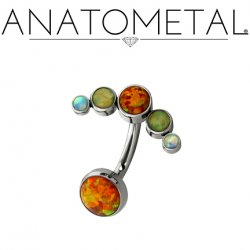 Anatometal Titanium Bezel-set Cabochon Gem Cluster Navel J-Curve Barbell Belly Button Ring 16 gauge 14 Gauge 12 Gauge 16g 14g 12