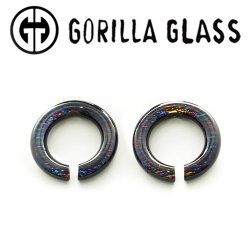 Gorilla Glass Iridescent Round Saturns 0.5oz Ear Weights 00 Gauge 00g (Pair)