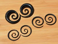 "Organic Black Horn Super Spirals 12g-1"" (Pair) 2mm-25.5mm"
