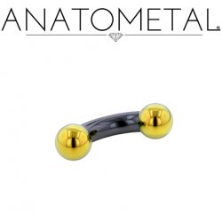 Anatometal Niobium Curved Barbell with Titanium Ball Ends 2 Gauge 2g