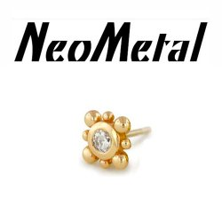 "14 Gauge 14g NeoMetal Threadless Bali 2mm Gem End 14kt 14 Karat Gold ""Press-fit"""