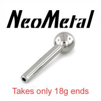 "16 Gauge 16g NeoMetal Threadless Titanium Universal Straight Barbell Shaft 1/8"" Ball End ""Press-fit"""