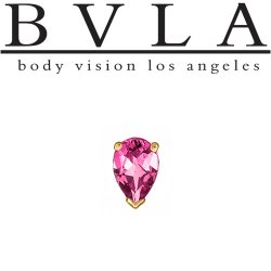 BVLA 14kt Gold V Prong-set Pear Gem Threaded End Dermal Top 18g 16g 14g 12g Body Vision Los Angeles