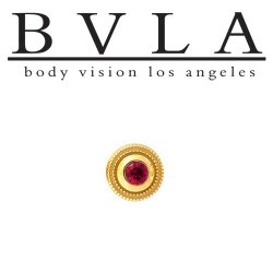 BVLA 14Kt Gold Millgrain Bezel Threaded End Dermal Top 6.0mm 18g 16g 14g 12g Body Vision Los Angeles