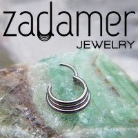 Zadamer Titanium Triple Stacked Septum Clicker Daith Helix Hinged Ring 16 Gauge 14 Gauge 16g 14g