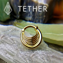 "Tether Jewelry Stainless Steel ""Drake Hoop"" Clicker Ear Weight Hinged Ring 8 Gauge 8g"