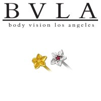 "BVLA 14kt Gold ""Hibiscus"" Nostril Screw Nose Bone Ring Stud Nail 20g 18g 16g Body Vision Los Angeles"