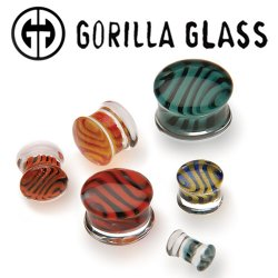 "Gorilla Glass Tiger Plugs 2 Gauge to 1"" (Pair)"