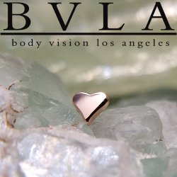 "BVLA 14Kt Gold Flat ""Heart"" Threadless End 18g 16g 14g Body Vision Los Angeles ""Press-fit"""