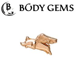 "Body Gems 14kt Gold ""When Pigs Fly"" Threaded End Dermal Top 18 Gauge 16 Gauge 14 Gauge 12 Gauge 18g 16g 14g 12g"