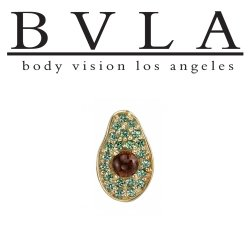 "BVLA 14Kt Gold ""Avocado"" Threaded End Dermal Top 18g 16g 14g 12g Body Vision Los Angeles"
