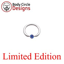 "Body Circle Surgical Stainless Steel 5/8"" Flat Tip Captive Bead Ring with Faceted Blue Captive Bezel Gem 12 Gauge 12g"