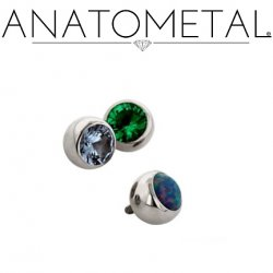 Anatometal Surgical Steel Threaded Gem Ball End 8 gauge 8g