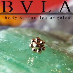 "BVLA 14kt Gold Bead ""Flower"" 4mm Threaded End Dermal Top 18g 16g 14g 12g Body Vision Los Angeles"
