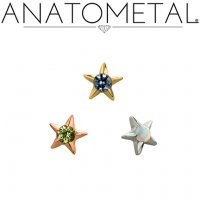 "Anatometal 18kt Gold Gem Star 3/16"" Threaded End 18g 16g 14g 12g"