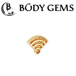 "Body Gems 14kt Gold ""Wi-Fi"" Symbol Threaded End Dermal Top 18 Gauge 16 Gauge 14 Gauge 12 Gauge 18g 16g 14g 12g"