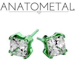 Anatometal Titanium 6mm Princess Earrings (Pair)