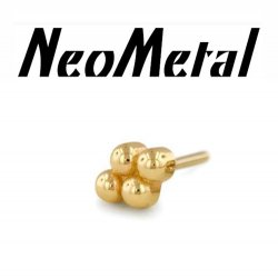 "14 Gauge 14g NeoMetal Threadless 4-ball End 14kt 14 Karat Gold ""Press-fit"""