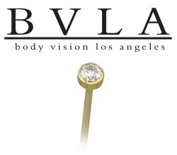 BVLA 14kt Gold 2.5mm Bezel-set Gem Nostril Screw Nose Bone Ring Stud Nail 20g 18g Body Vision Los Angeles
