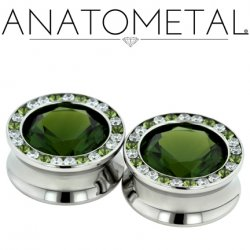 "Anatometal Surgical Steel Super Gem Bling Eyelet 2g 0g 00g 7/16"" 1/2"" 9/16"" 11/16"" 3/4"" 1"""