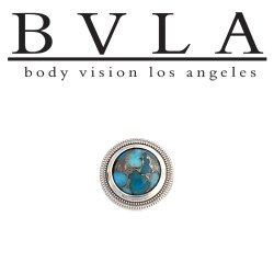 BVLA 14Kt Gold Millgrain Bezel Threaded End Dermal Top 9.5mm 18g 16g 14g 12g Body Vision Los Angeles