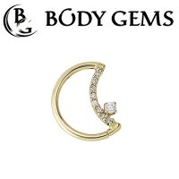 Body Gems 14kt Gold LunEar Daith Ring with 1mm and 2mm Gems 16 Gauge 14 Gauge 16g 14g