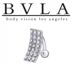BVLA 14kt Gold Light Wave Genuine Diamond Navel Curved Barbell 14 Gauge 14g Body Vision Los Angeles