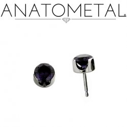 Anatometal Titanium 3mm Prong-set Faceted Gem Earrings (Pair)