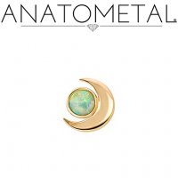 "Anatometal 18Kt Gold Threadless Crescent Moon End 3mm Gem 18 Gauge 18g ""Press-fit"""